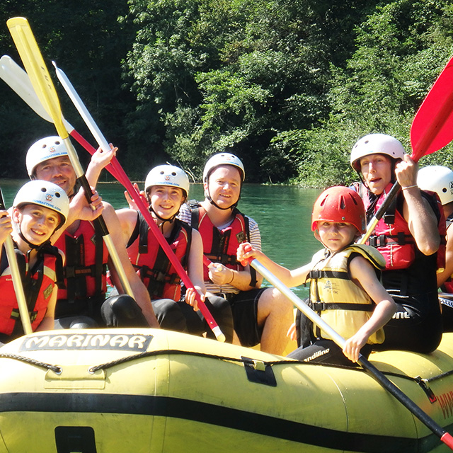 fun rufting bled on a raft on river sava
