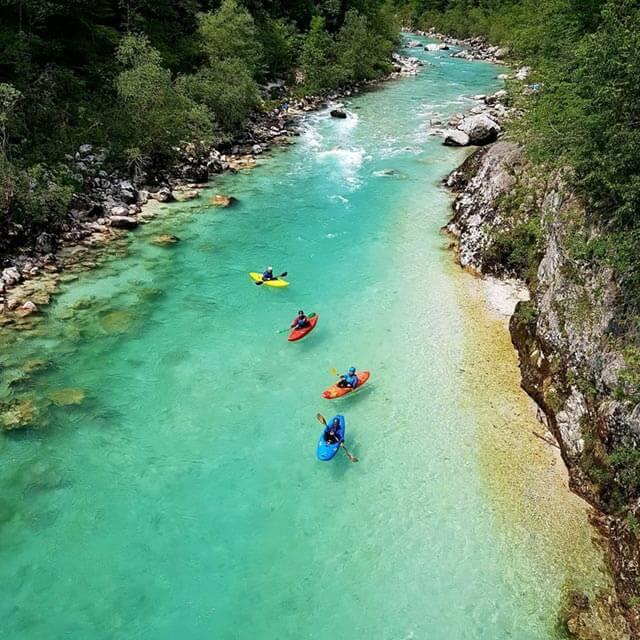 kayaking on emerald river